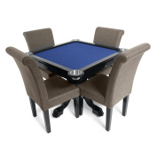 BBO Poker Levity Game and Poker Table for 4 Players with Felt Playing Surface, 100cm Square, Includes 4 Dining or Lounge Chairs