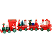 TRENDINAO 4 Pieces Wooden Small Train Christmas Xmas Decoration Decor Kids Toddler Toys Gift #07