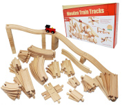Joyin Toy 62 Pieces Wooden Train Track Expansion Set - Compatible with All Major Brands including Thomas