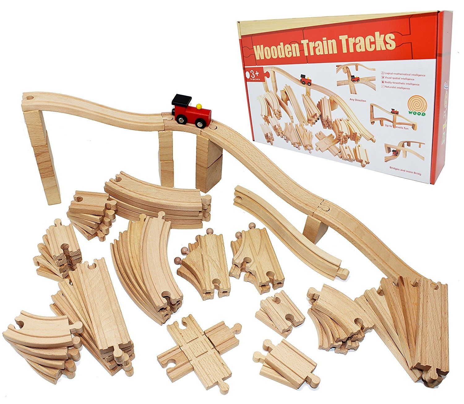 Joyin Toy 62 Pieces Wooden Train Track Expansion Set Compatible With All Major Brands Including Thomas