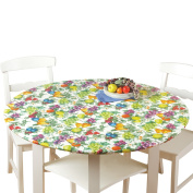 Fitted Elastic No-Slip Fit Table Cover with Soft Flannel Backing, Round, Fruit