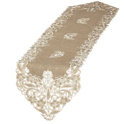 Elegant Embroidered Lace Table Linens, Runner, Brown