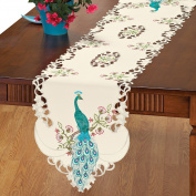 Embroidered Peacock Table Linens, Runner, Multi