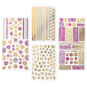 BMC 4pcs Mythos Pink & Gold Metallic Foil Nail Art Stickers - Fast and Easy Nail Manicures Designs