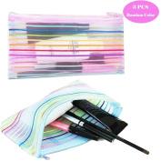 Garrelett Rainbow Striped Nylon Mesh Zipper Cosmetic Bags / Makeup Bags Cases / Toiletry Bags Pouch for Women Men Kids