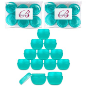 Beauticom 12 Pieces 30G/30ML (1 Oz) Teal Frosted Container Jars with Inner Liners for Scrubs, Oils, Salves, Creams, Lotions, Medication, Cosmetics - BPA Free