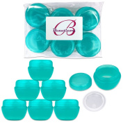 Beauticom 6 Pieces 30G/30ML (1 Oz) Teal Frosted Container Jars with Inner Liners for Scrubs, Oils, Salves, Creams, Lotions, Medication, Cosmetics - BPA Free