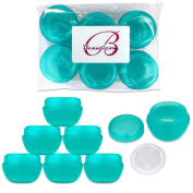 Beauticom 6 Pieces Teal Container Jars with Inner Liner and Lid for Scrubs, Oils, Salves, Creams, Lotions, Makeup Cosmetics, Nail Accessories, Beauty Aids - BPA Free