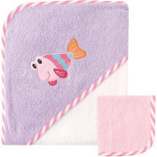 Luvable Friends Baby Woven Hooded Towel with Washcloth, Fish