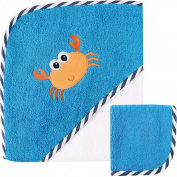 Luvable Friends Baby Woven Hooded Towel with Washcloth, Crab