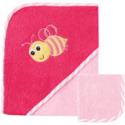 Luvable Friends Baby Woven Hooded Towel with Washcloth, Bee