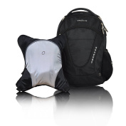 Obersee Oslo Nappy Bag Backpack with Detachable Cooler, Silver Grey