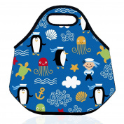 ZMvise Penguin Cute Pattern Neoprene Reusable Insulated Lunch Bag School Tote Box Picnic Thermal Carrying Gourmet Container