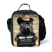 Bad Dog Printed Kids Lunch Bag Tote Handbag Insulated Thermal Lunchboxes