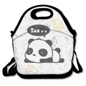 Custom Animated Sleeping Panda Reusable Ziplock Crossbody Picnic Bag Design For Office Portable Lunch Box Cooler Back To School Lunch Bag Lunch Tote Bag Box For Boys Girls