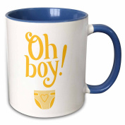 3dRose Xander announcement quotes - Oh boy, yellow letters with a picture of a baby nappy - 330ml Two-Tone Blue Mug