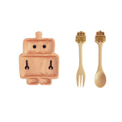 Petits Et Maman Kids Wood Dinnerware Robot Dining Set - Plate Fork and Spoon