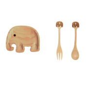 Petits Et Maman Kids Wood Dinnerware Elephant Dining Set - Plate Fork and Spoon