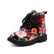 Vmree Kids Childs Casual Autumn Floral Shoes Patent Leather Rubber Sole Martin Boots