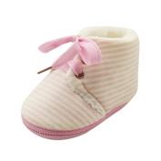 Vmree Toddler Newborn Baby Stripe Print Boots Soft Sole Boots Prewalker Warm Shoes