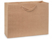 "Kraft Pinstripe Vogue Gift Bags (100 Pack ) 16x 6"" x 30cm"