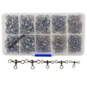 Shaddock Fishing ® 120pcs/box Size 2# 4# 6# 8# 10# Three Way Swivels Cross-Line Strong Barrel Fishing Swivels Set