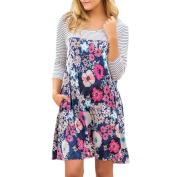 Women's Dress Neartime Women Casual Stripe Floral Shirt Long Sleeve Mini Dress Party Dress