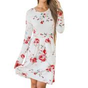 Women Dress, Neartime Floral Summer Casual Long Sleeve Evening Party Knee Length Dress