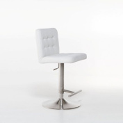Brushed Stainless Steel Adjustable Height Swivel Tufted Stool