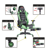 Top Gamer Ergonomic Gaming Chair High back Swivel Computer Office Chair with Footrest Adjusting Headrest and Lumbar Support Racing Chair