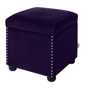 Jennifer Taylor Home Hailey Collection Colonial Style Nailhead Trim Velvet Accent Square Storage Ottoman with Wooden Legs, Purple
