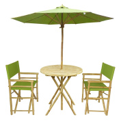 Zew Handmade 4-Piece Bamboo Outdoor Patio Set Includes Round Table, 2 Canvas Chairs and 1 Umbrella, Indigo