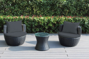 Ohana 3-Piece Outdoor Wicker Patio Conversation Set with Weather Resistant Cushions