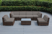 Genuine Ohana Outdoor Patio Sofa Sectional Wicker Furniture Mixed Brown 7pc Couch Set