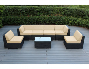 Ohana Collection 7 Piece Ohana Outdoor Patio Wicker Sectional Sofa Set - Sunbrella Beige