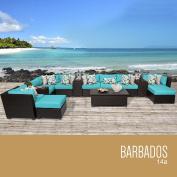 TK Classics 14 Piece Barbados Outdoor Wicker Patio Furniture Set, Aruba