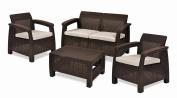 Keter Corfu 4 Piece Set All Weather Outdoor Patio Garden Furniture w/ Cushions, Brown