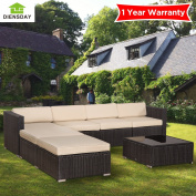 Diensday 5 Piece 5-7 Pieces Cushioned Outdoor Patio PE Rattan Wicker Sofa Sectional Furniture Set Lawn Backyard Furniture