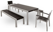 Trex Outdoor Furniture TXS122-1-11CB Surf City 5-Piece Bench Dining Set, Textured Silver/Charcoal Black