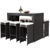 Merax 7 Pieces Rattan Wicker Patio Bar Stool Dining Table Furniture Set with Cushions, Black