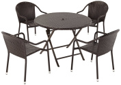 Crosley Furniture Palm Harbour 5-Piece Outdoor Wicker Cafe Dining Set - Brown