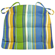 Indoor / Outdoor Dining Chair Cushion - Westport Blue Cabana Stripe - Mildew Resistant, Fade Resistant - Reversible, Tufted, Latex Foam Fill - Outdoor Furniture Replacement Cushion Small Patio Chair