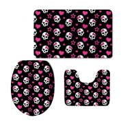 Showudesigns Soft Toilet Lid Cover Cute Skull Designer with Flannel Set 3 Piece