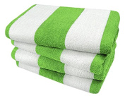 KAUFMAN- GREEN CABANA STRIPE, LARGE BEACH AND POOL TOWELS- SET OF 4. 100% COTTON . MAXIMUM ABSORBENCY AND SOFTNESS