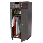 Solid Contemporary Modern Espresso Finish 4-Door Armoire Wardrobe Closet 2 top shelf 1 bottom shelf hang bar