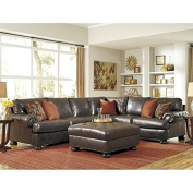 Ashley Nesbit 4 Piece Right Leather Sectional with Ottoman in Antique