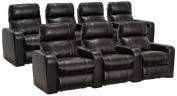 Lane Dynasty Black Bonded Leather Home Theatre Seating - 1 Row of 3, 1 Row of 4 (7 Recliners) - Power Recline
