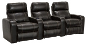 Lane Dynasty Black Bonded Leather Home Theatre Seating - Row of 3 Seats - Power Recline