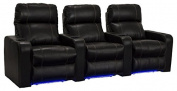 Lane Dynasty Black Bonded Leather Home Theatre Seating w/ Base Lights - Row of 3 Seats - Power Recline
