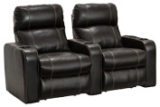 Lane Dynasty Black Bonded Leather Home Theatre Seating - Row of 2 Seats - Power Recline